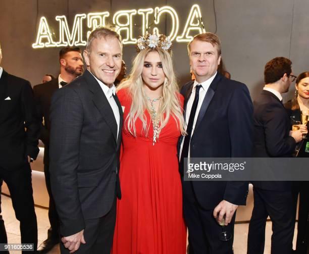 Chairman/CEO, RCA Records, Peter Edge, Recording Artist, Kesha, CEO, Sony Music Entertainment, Rob Stringer attend the Sony Music Entertainment 2018...