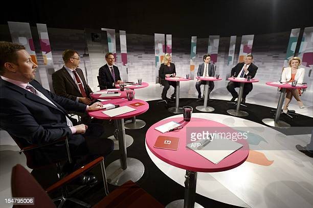 Chairmen of Finnish parliamentary parties Paavo Arhinmaki of the Left Alliance Juha Sipila of the Centre Party Jyrki Katainen of the National...
