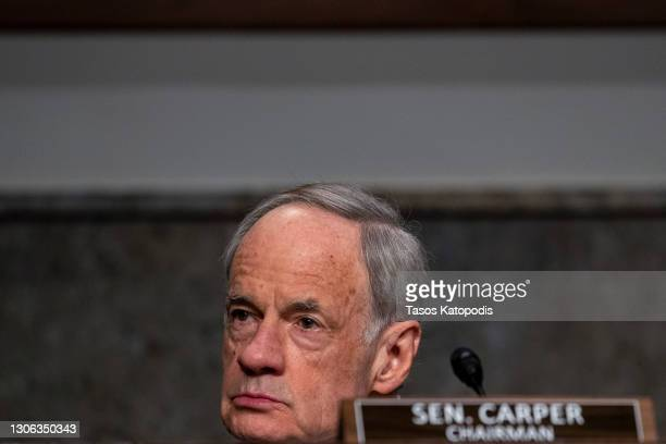 Chairmen Sen. Tom Carper listens during the hearing on Capitol Hill on March 10, 2021 in Washington, DC. Frank Rusco, Director of Natural Resources...