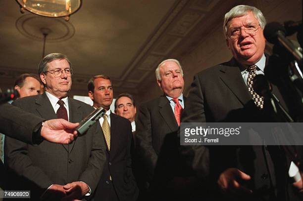 CHAIRMENNew chairmen Bill Thomas RCalif John A Boehner ROhio WJ Billy Tauzin RLa and F James Sensenbrenner Jr RWis along with House Speaker J Dennis...
