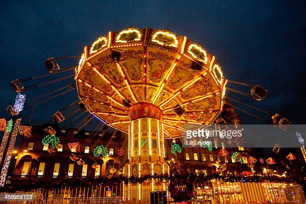 chairoplane / swing ride; george square, glasgow - glasgow scotland stock pictures, royalty-free photos & images