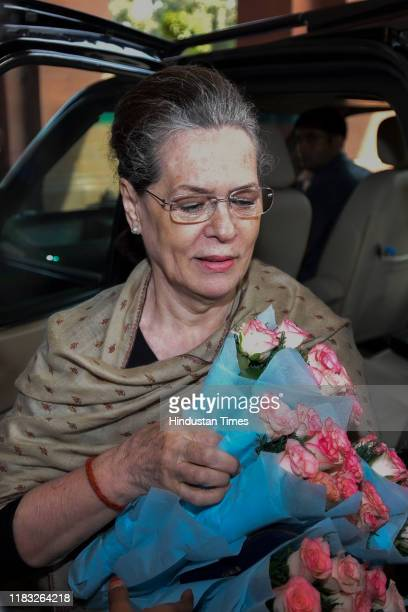 UPA chairperson and congress president Sonia Gandhi arrives to attend the first day of the winter session of Parliament on November 18 2019 in New...