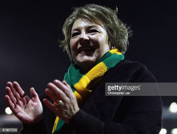 Chairperson, Delia Smith of Norwich City applauds her team as they draw during the Barclays Premiership match between Portsmouth and Norwich City at...