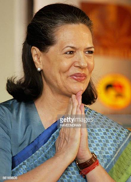 Chairperson of India's United Progressive Alliance government and Congress Party President Sonia Gandhi greets delegates during the third annual...