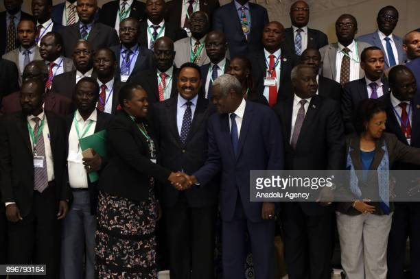 Chairperson of the African Union Commission Moussa Faki Mahamat Foreign Affairs Minister of Ethiopia Workneh Gebeyehu and former President of South...