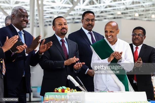 Chairperson of the African Union Commission Moussa Faki Mahamat Ethiopia's Prime Minister Abiy Ahmed Ethiopia's Foreign Affairs Minister Workneh...