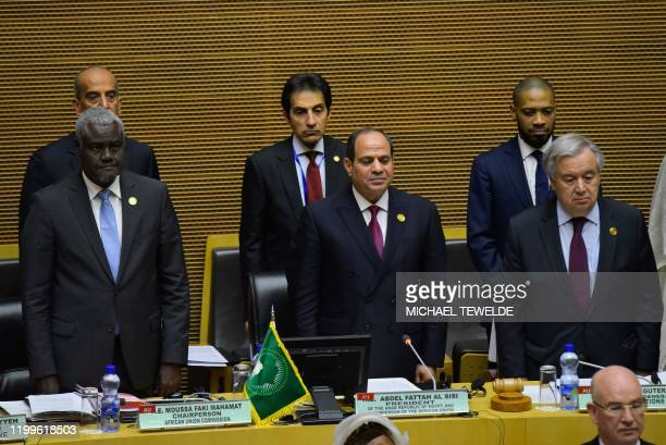 Chairperson of the African Union Commission Moussa Faki Mahamat Egyptian President Abdel Fattah elSisi and Antonio Guterres United Nations...
