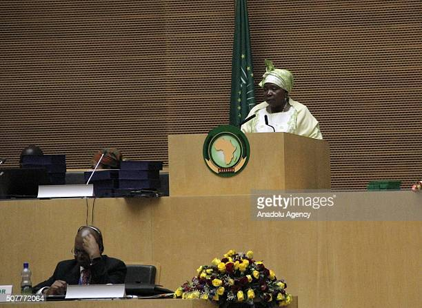 Chairperson of the African Union Commission Nkosazana Dlamini Zuma gives a speech during a session within the 26th African Union Peace and Security...