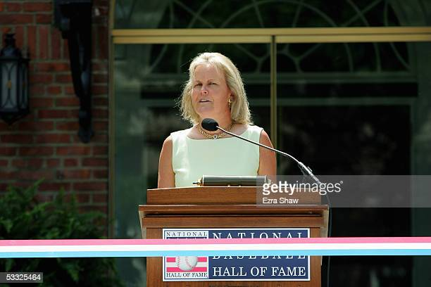 Chairperson of the Baseball Hall of Fame Jane Forbes Clark speaks before the induciton of 38 new members at the National Baseball Hall of Fame and...