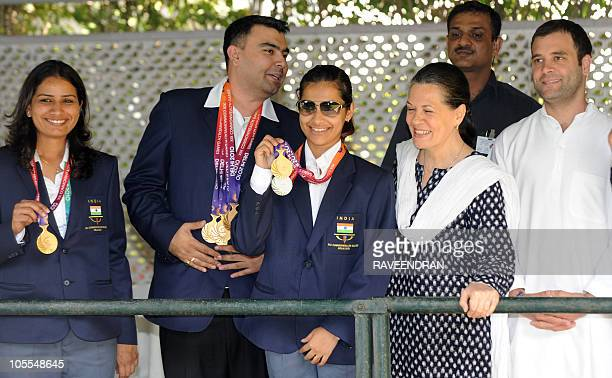 Chairperson of the Congressled UPA government and Congress party president Sonia Gandhi and her son Congress party General Secretary and member of...