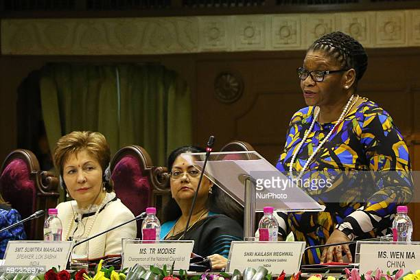 Chairperson of the National Council of Provinces of South Africa TR Modise speaks during Meeting of BRICS Women Parliamentarians Forum' Women...