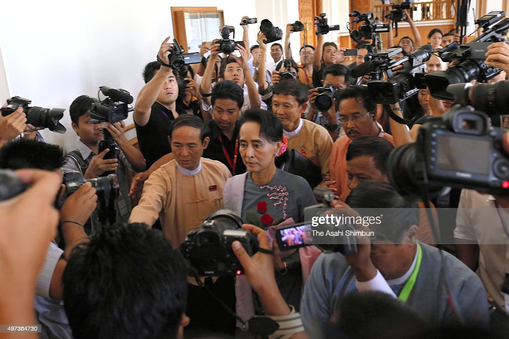 Aung San Suu Kyi Attends Parliament First Time After NLD's Landslide Victory