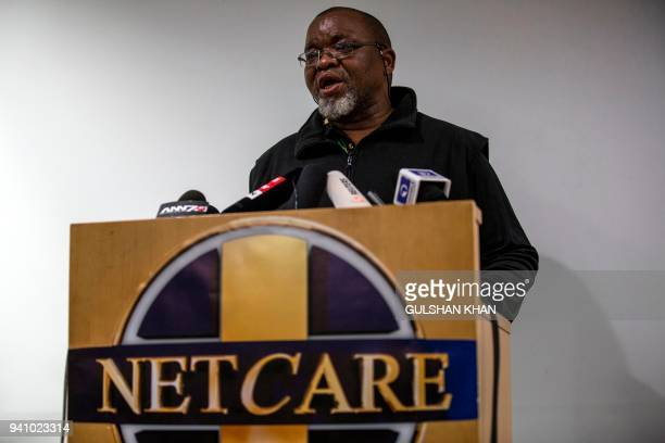 Chairperson of the South Africa's African National Congress Gwede Mantashe speaks to the media at a press conference confirming the death of South...