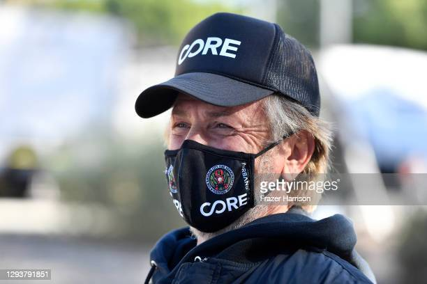 Chairperson Sean Penn visits a coronavirus vaccination site at Lincoln Park on December 30, 2020 in Los Angeles, California. Los Angeles will use...