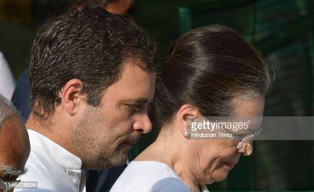 Chairperson Sonia Gandhi and Congress President Rahul Gandhi during a ceremony to pay tribute to India's first Prime Minister Jawaharlal Nehru on his...