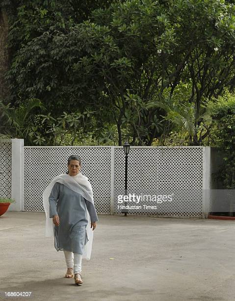 Chairperson Sonia Gandhi before a 'chadar' sending it for the shrine of Khwaja Moinuddin Chishti during ongoing 801 Urs in Ajmer on May 12 2013 in...