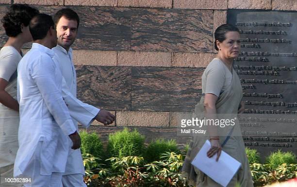 Chairperson Sonia Gandhi Congress General Secretary Rahul Gandhi Priyanka Gandhi and Robert Vadra at the 19th death anniversary observation of former...