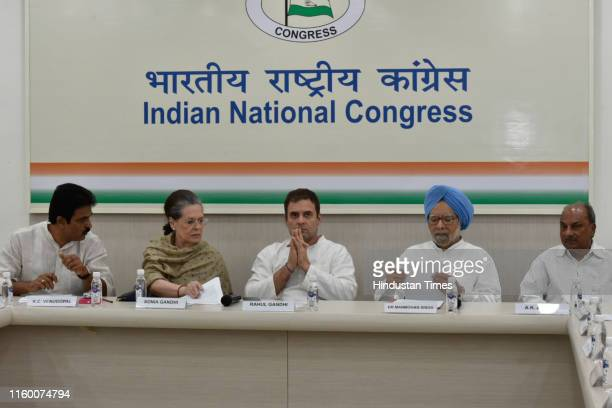 Chairperson Sonia Gandhi Congress leader Rahul Gandhi former Prime Minister Manmohan Singh and others during a Congress Working Committee Meeting at...