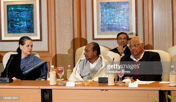 UPA chairperson Sonia Gandhi Defense Minister AK Antony with Nationalist Congress Party president Sharad Pawar meet during the allparty meeting on...