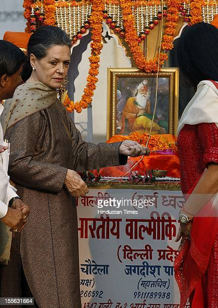 Chairperson Sonia Gandhi during launch of a 'Shobha Yatra' on the occasion of Maharishi Valmiki Jayanti on October 29 2012 in New Delhi India