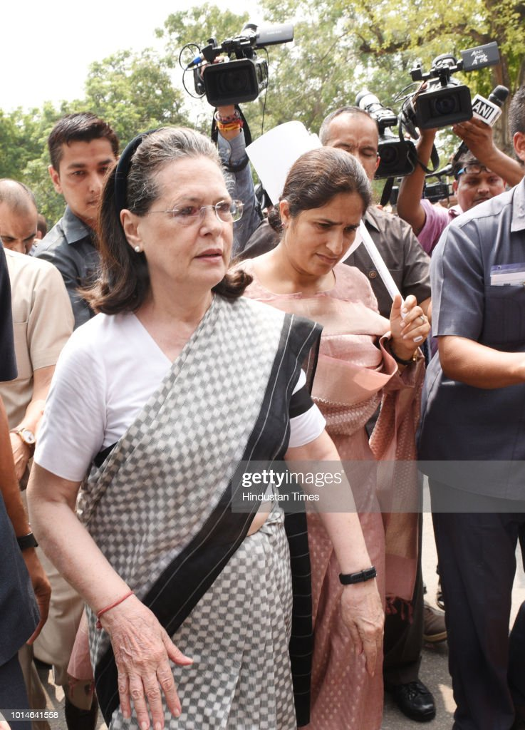 UPA chairperson Sonia Gandhi with congress MP Ranjeet Ranjan during a protest against the Union government over Rafale deal issue, at Parliament House, on August 10, 2018 in New Delhi, India.