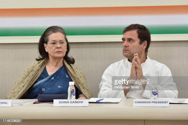Chairperson Sonia Gandhi with Congress President Rahul Gandhi during a Congress Working Committee meeting at AICC headquarters on May 25 2019 in New...