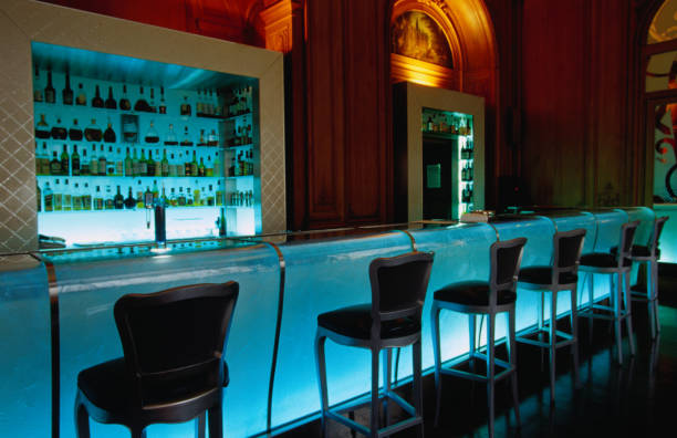 Chairs along bar in Plaza Athenee.