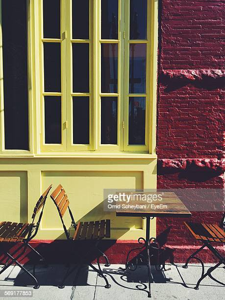 Chairs and table of sidewalk cafe