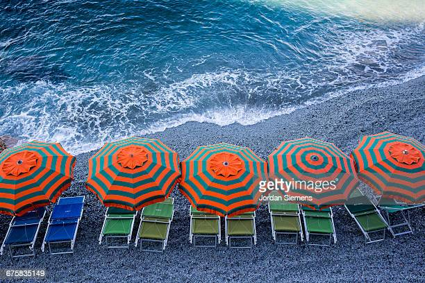 Chairs and umbrellas for rent.