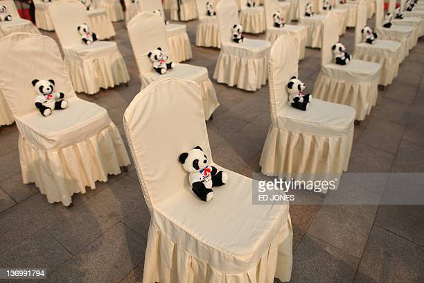 Chairs are arranged during a farewell ceremony for two giant pandas due to depart for France at the Giant Panda Research Base in Chengdu Sichuan...