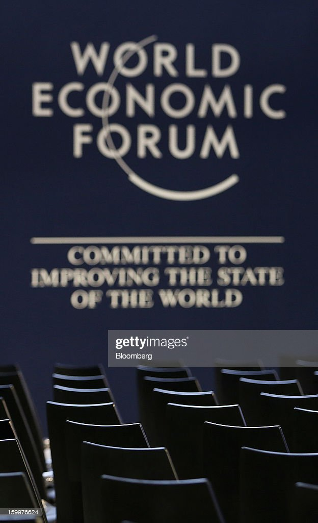 Chairs are arranged inside the main hall of the Congress Center on day two of the World Economic Forum (WEF) in Davos, Switzerland, on Thursday, Jan. 24, 2013. World leaders, influential executives, bankers and policy makers attend the 43rd annual meeting of the World Economic Forum in Davos, the five day event runs from Jan. 23-27. Photographer: Chris Ratcliffe/Bloomberg via Getty Images