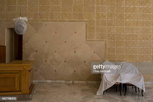 Chairs are seen covered with sheets at the closed Imperial Marhaba Hotel on June 24 2016 in Sousse Tunisia The Imperial Marhaba hotel was the main...