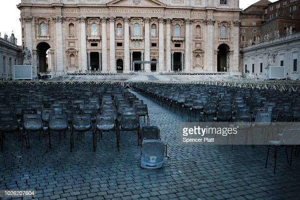 Chairs are set up in St Peter's Square on September 02 2018 in Vatican City Vatican Tensions in the Vatican are high following accusations that Pope...