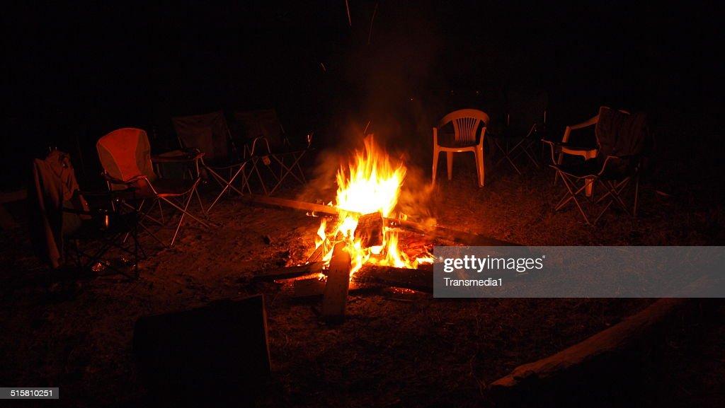 Chairs Around Campfire : Stock Photo
