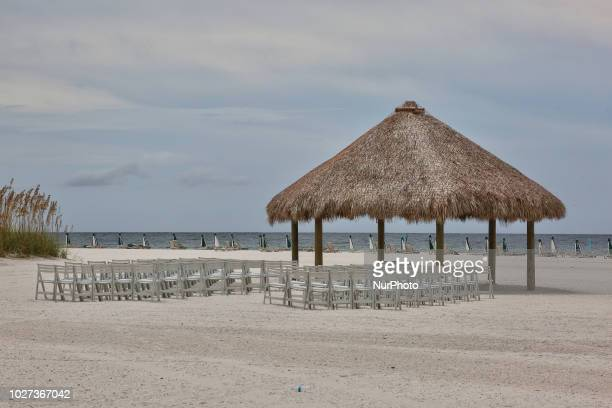 Chairs at a gazebo for a beach wedding on the beautiful San Marco Beach on Marco Island Florida USA on August 30 2018