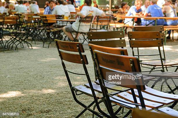 Chairs in a Beergarden in Munich, Germany