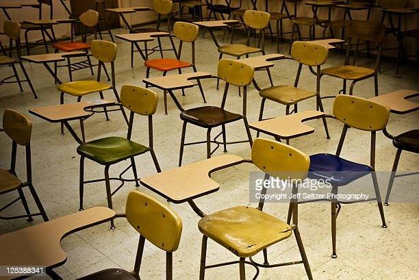 Chairs in an empty classroom