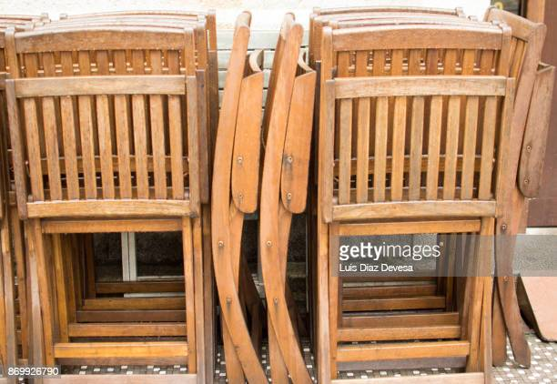 Chairs of wood locked together