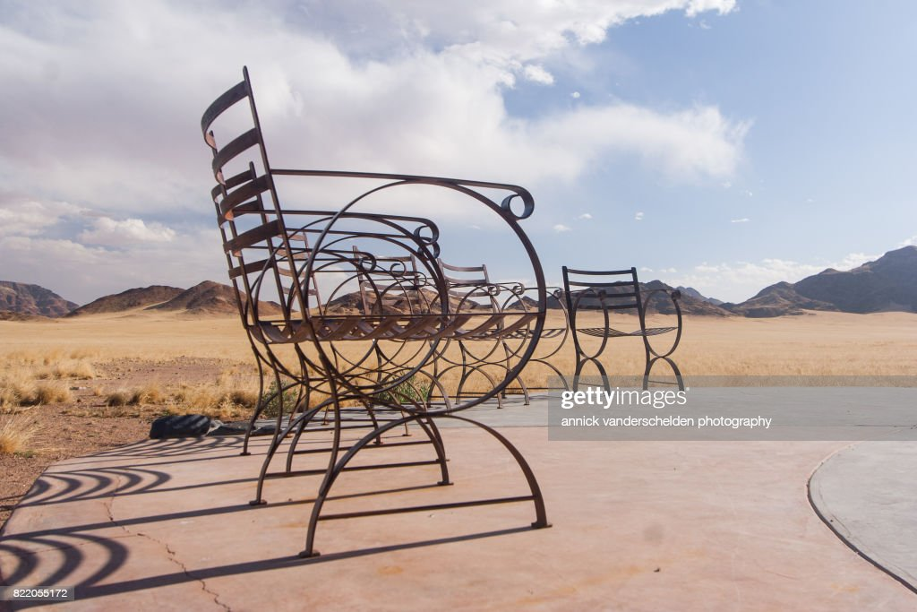 Chairs on terrace in semi-arid area. : Stock Photo
