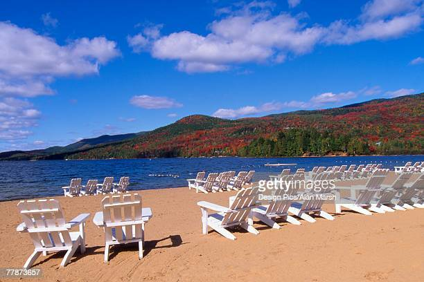 chairs on the beach - mont tremblant stock pictures, royalty-free photos & images