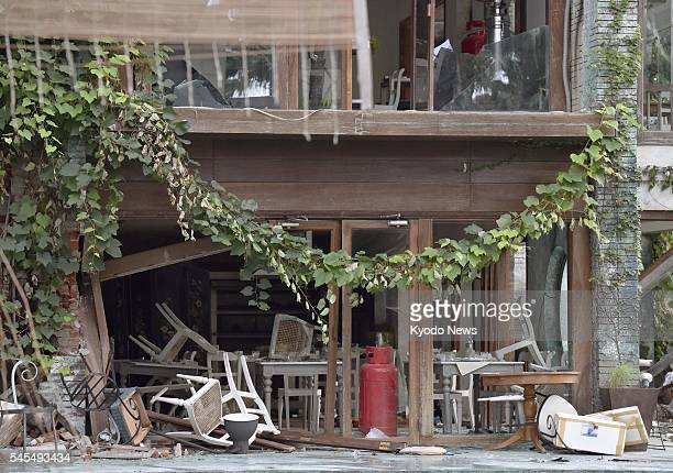 Chairs remain upturned in the Holey Artisan Bakery cafe in Dhaka on July 8 where 20 hostages were killed in a terrorist attack the previous week