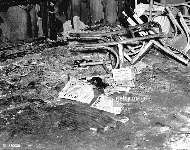 Chairs shoes and sheet music lie on the sidewalk outside the Cocoanut Grove nightclub in Boston on November 29 1942 A fire on the previous evening...