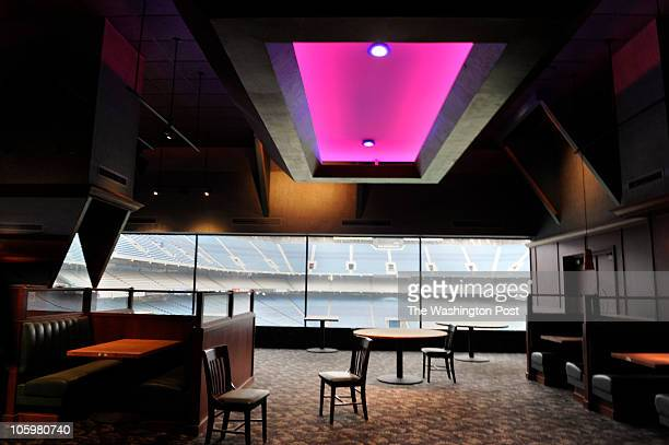 Chairs sit askew in what used to be the Main Event restaurant at the Pontiac Silverdome overlooking the field on Thursday December 17 2009