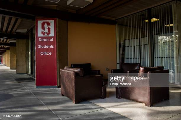 Chairs sit empty outside the Dean of Students Office during a quiet morning at Stanford University on March 9, 2020 in Stanford, California. Stanford...