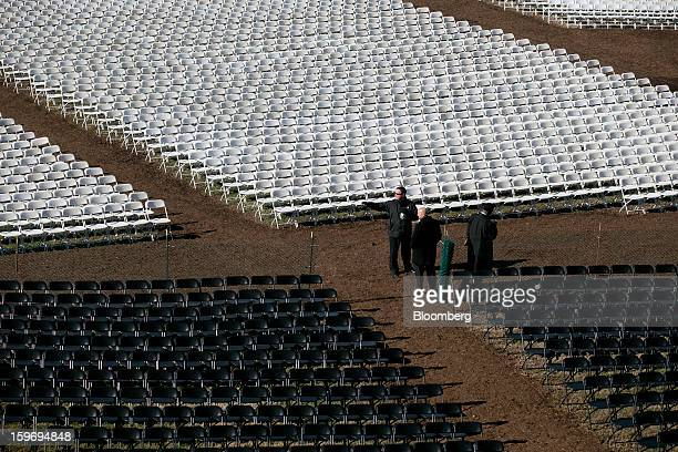 Chairs sit empty outside the US Capitol prior to the second inauguration of US President Barack Obama in Washington DC US on Friday Jan 18 2013...