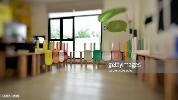 Chairs, table Interior of kindergarten international School .
