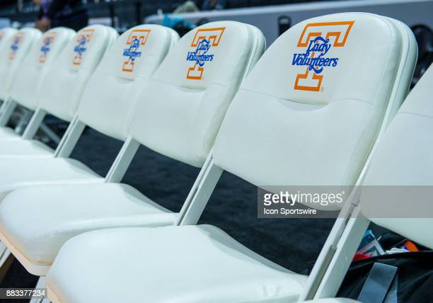 Chairs with the Lady Vols logo during a game between the Central Arkansas Sugar Bears and Tennessee Lady Volunteers on November 30 at ThompsonBoling...