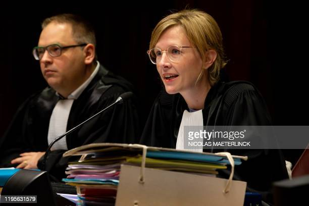 Chairwomam Marlies Vanden Avenne is pictured in Dendermonde criminal court on January 24 during the first day of a trial of five men for a huge case...