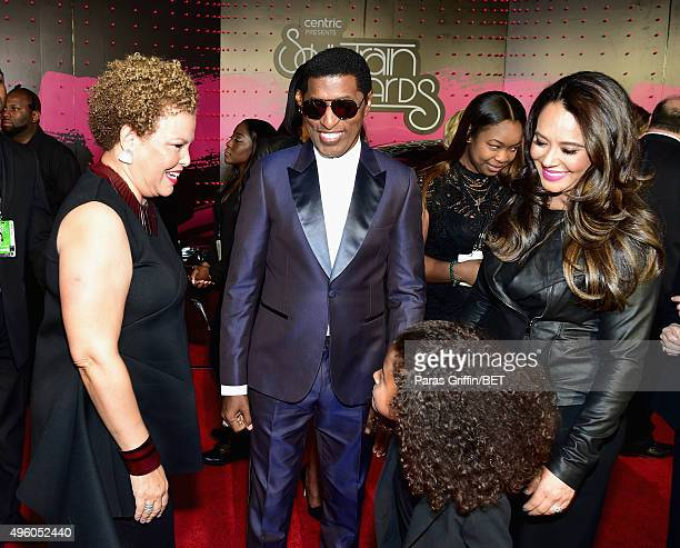Chairwoman and CEO of BET Networks Debra Lee honoree Kenneth Babyface Edmonds Peyton Edmonds and actress Nicole Edmonds attend the 2015 Soul Train...