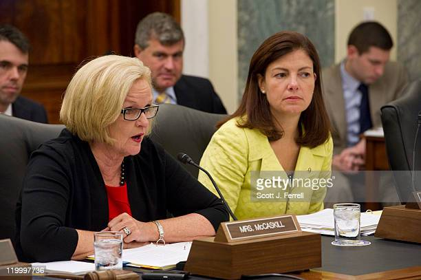 Chairwoman Claire McCaskill DMo and ranking member Kelly Ayotte RNH during the Senate Armed Services Subcommittee on Readiness and Management Support...